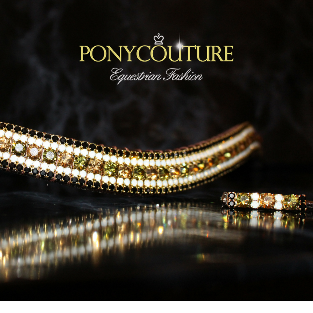 Limited Edition Crystal Browbands in antique style brass settings with green and champagne colour crystals