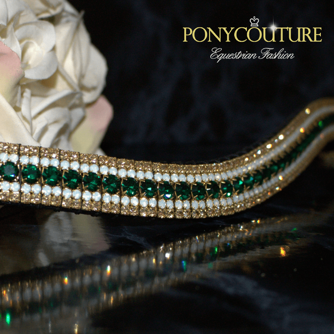 Classy antique look browbands from PonyCouture's amazBling range of five row crystal browbands that are handmade on Sedgwick leather with Preciosa crystals. This beautiful green and gold browband features Emerald, opals and golden honey Preciosa crystals.
