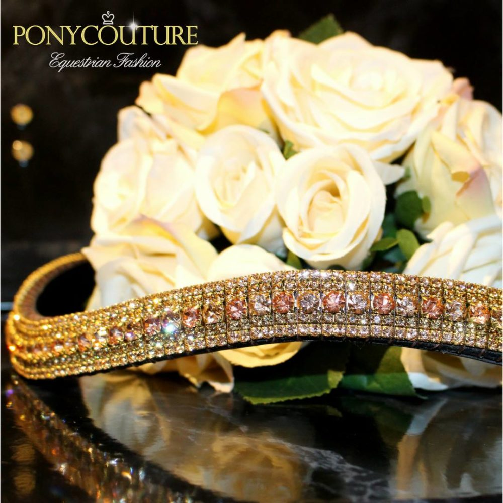 Peach and Apricot five row bling browband on Sedgwick English leather and with Preciosa crystals this five row megabling browband is just perfect