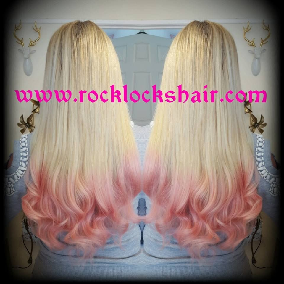 blonde and pink curled hair extensions on a weave and nano loops fitted as a weft and rock locks hair extensions also do pre bonded extensions and glue in extensions with clip in extensions in ombre hair colours