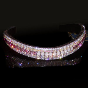Ombre Crystal Browbands from PonyCouture with a five row pink fade effect, made on Sedgwick English leather with Preciosa Crystals this browband is perfect for the Dressage ring, showjumping arena and all things Equestrian. Stunning five row bling browbands handmade in the UK.