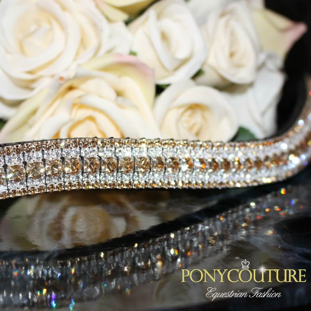 Five Row crystal browband in golden browbands colours handmade bling browbands in the uk and on a black background these luxury best bling browbands are perfect for dressage