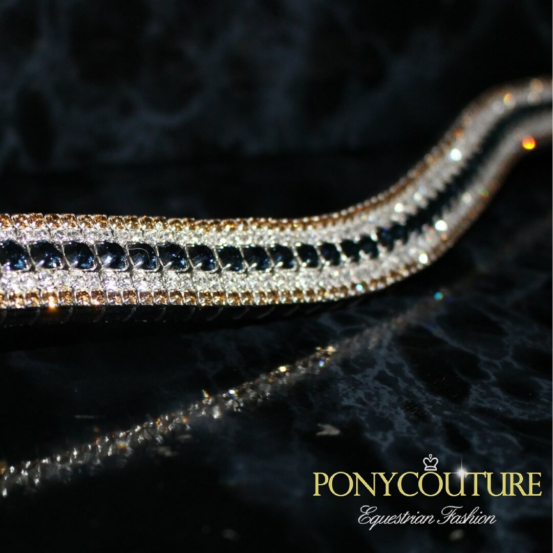 best quality bling browbands in navy and gold colours handmade by ponycouture and an English leather browbands