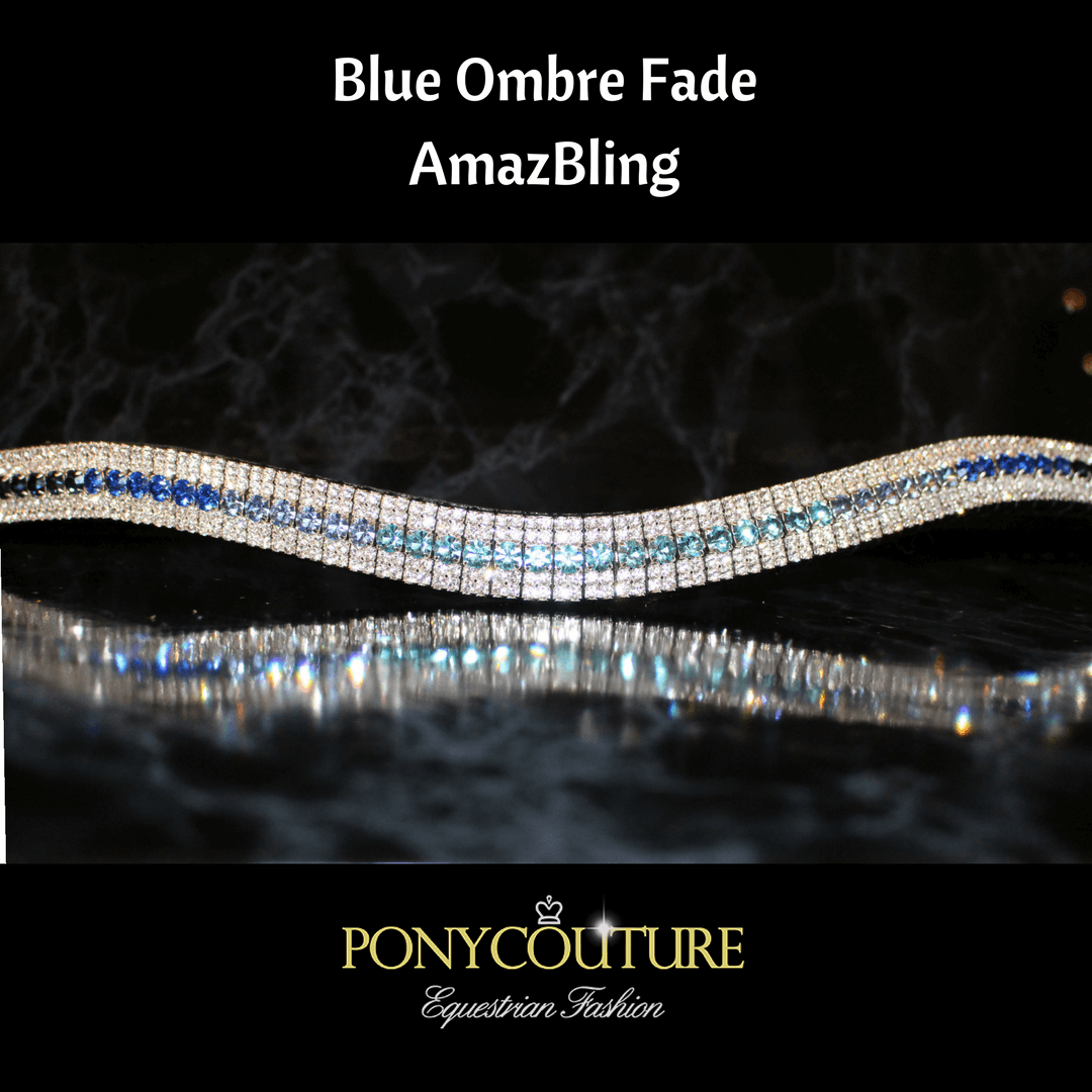 blue ombre fade amazbling browband on sedgwick english leather and with preciosa crystals on a black marble background with a blue ombre browband