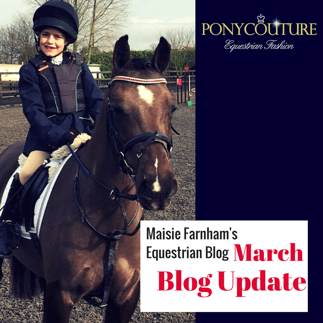 Maisie Farnham riding her black pony magic at a combined training dressage test and with a crystal browband for her equestrian blog