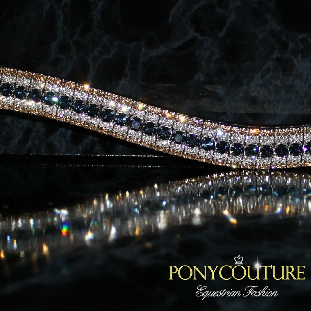 navy, white and gold crystal browband and navy and gold matchy sets