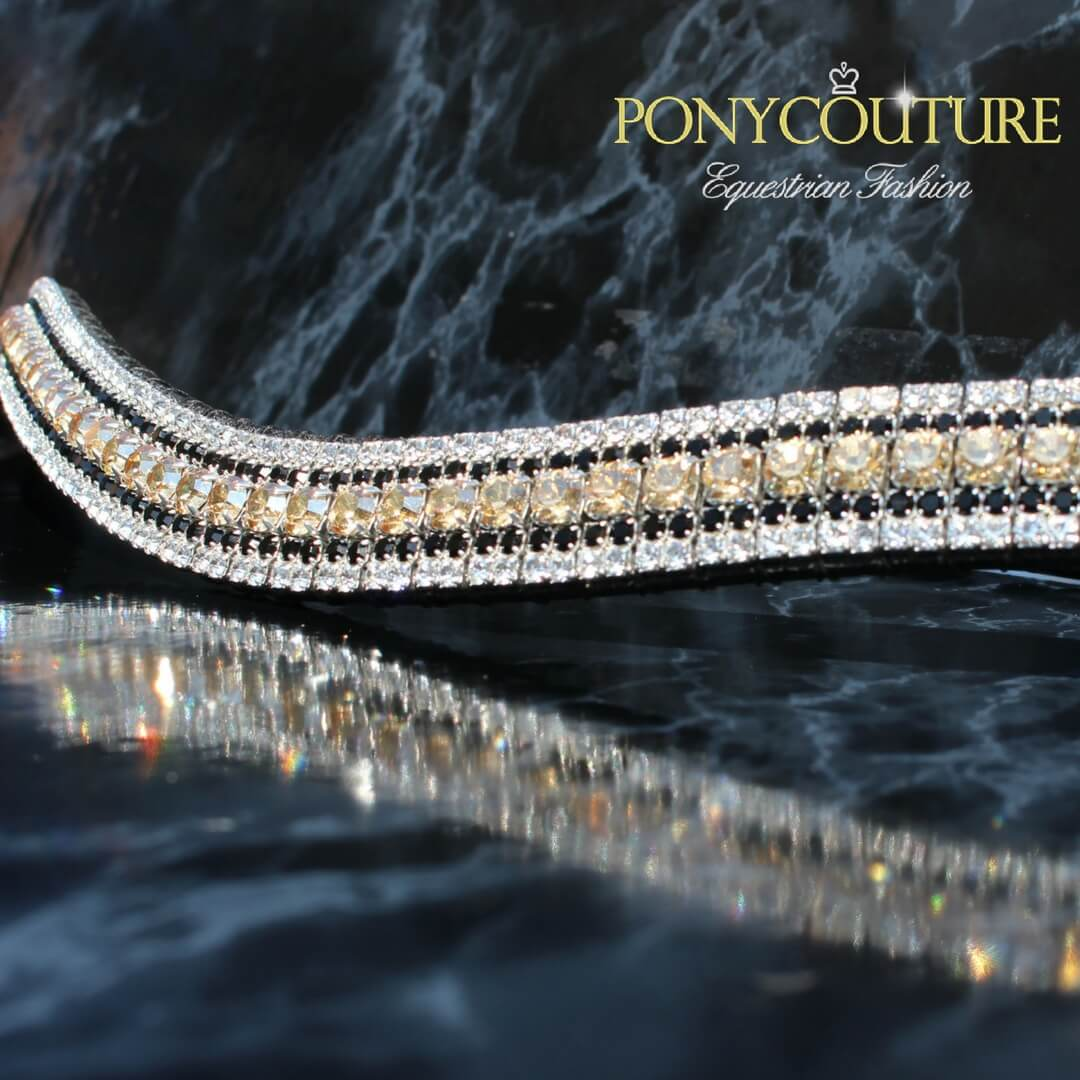Black and Gold browbands handmade on Sedgwick English leather and crystal dressage browbands