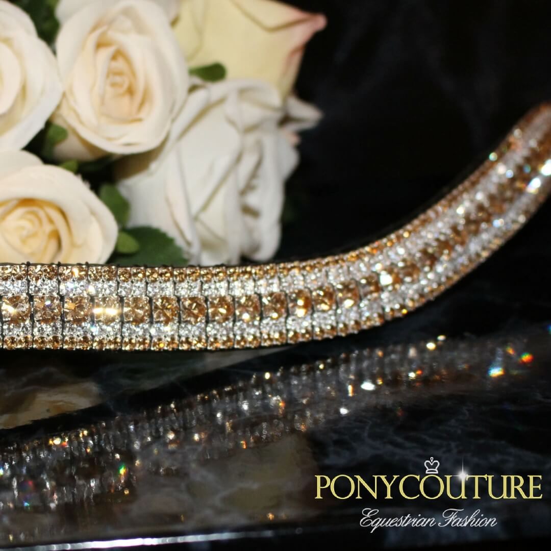 handmade dressage browbands on a black back ground with gold tone crystals