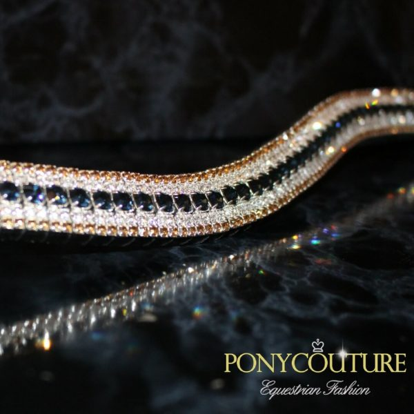 best bling browbands and tasteful bling browbands with navy and gold colours