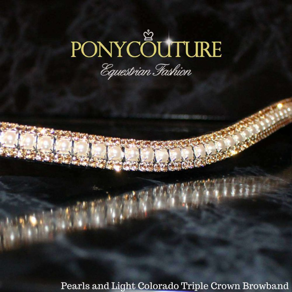 This beautiful three row, Triple Crown crystal browband is handmade on finest quality Sedgwick English leather with genuine Preciosa Pearls and light colorado crystals