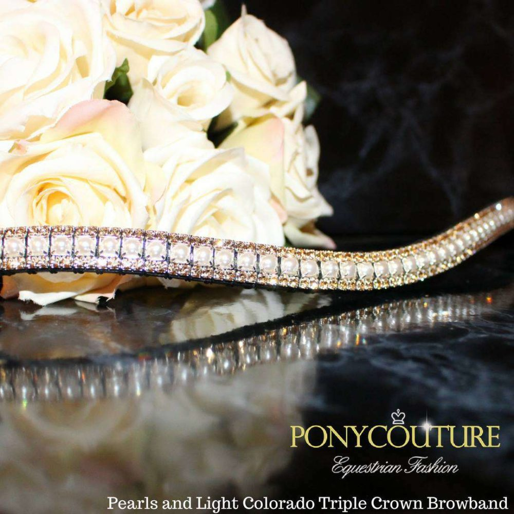pearls and light colorado triple crown classy crystal browband