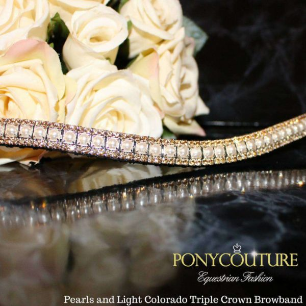 pearls and light colorado triple crown crystal browband