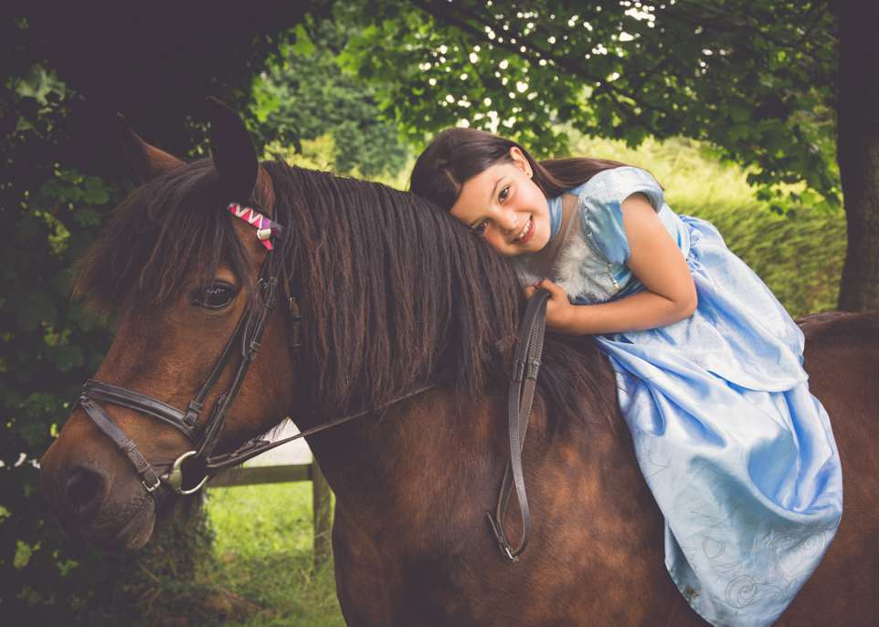 Victoria Gray Photography has this bay pony with little girl dressed as Cinderella for pony club photoshoot