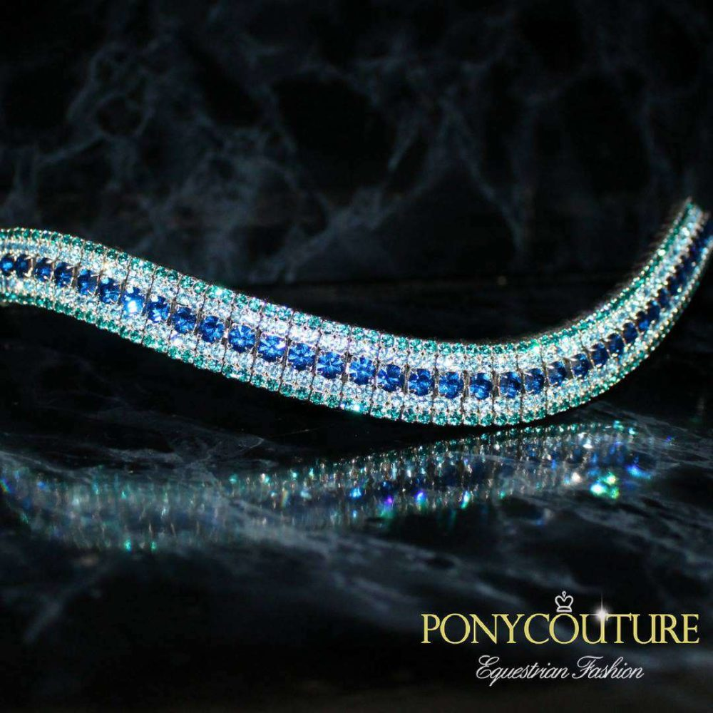 wave shape bling browbands with aqua blue browbands and on a black back ground these blue browbands are used for dressage and showjumping and dressur